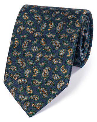 Cravate de luxe bleu marine et or en soie anglaise à motif cachemire