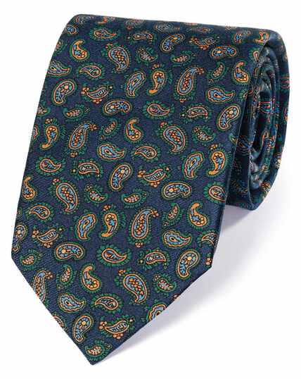 Navy and gold silk printed paisley English luxury tie