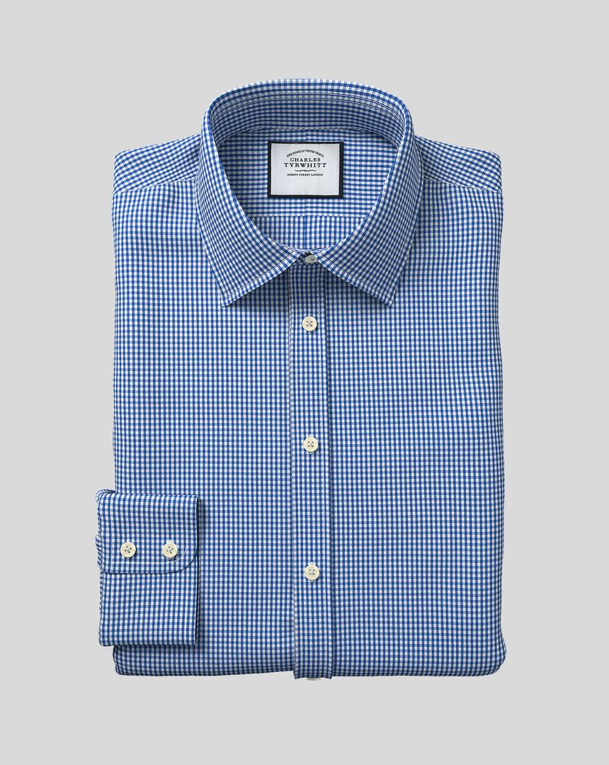 Hemd mit Kent-Kragen und Gingham-Karos - Königsblau