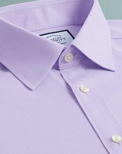Chemise lilas en twill coupe droite sans repassage