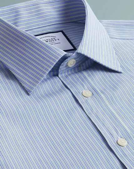 Egyptian Cotton Poplin Fine Stripe Shirt - Blue And Green