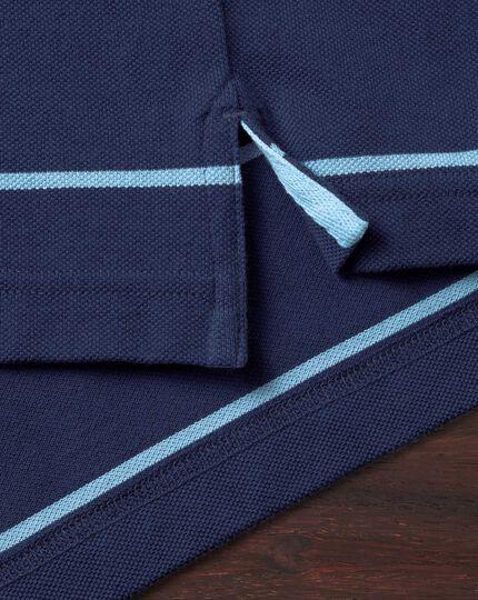 Polo bleu et bleu ciel en piqué à rayures