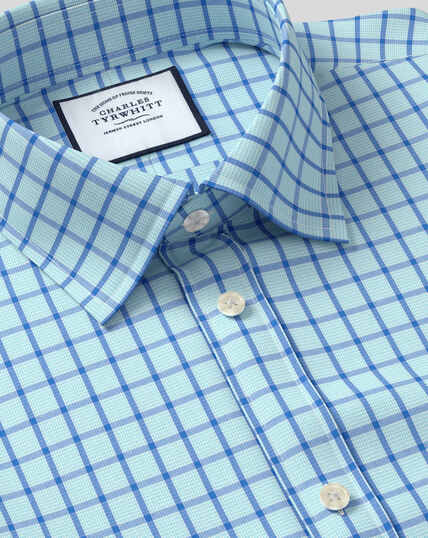 Classic Collar Poplin Check Shirt - Teal