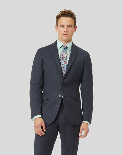 Natural Stretch Italian Stripe Suit Jacket - Airforce Blue