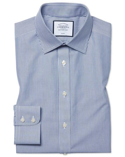 Slim fit  non-iron navy Bengal stripe shirt