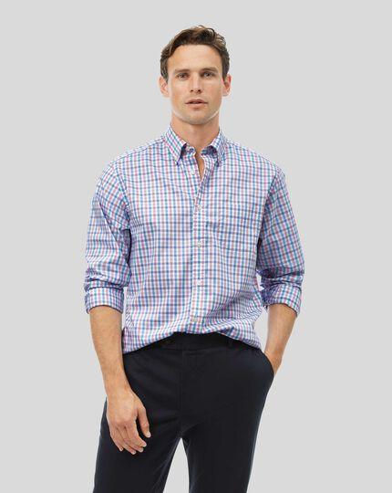 Vorgewaschenes Popeline-Hemd aus Stretchgewebe mit Button-down-Kragen und Karos - Korallenrot