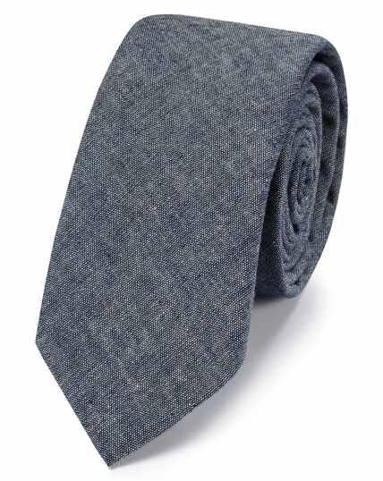 Mid blue cotton slim chambray classic tie