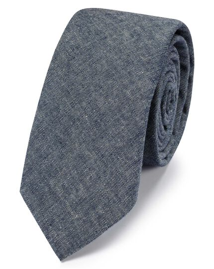 Mid blue cotton slim chambray classic tie