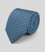 Silk Slim Geometric Print Tie - Navy