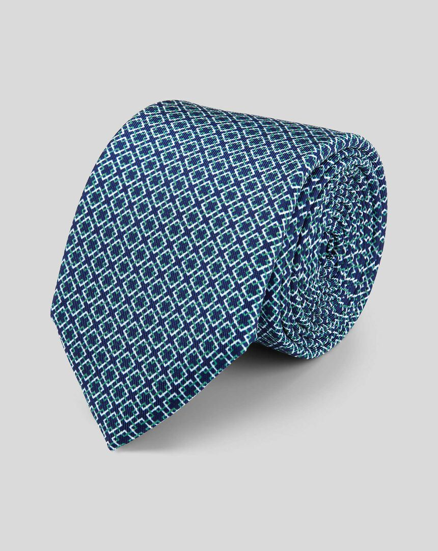 Silk Slim Geometric Print Tie - Navy