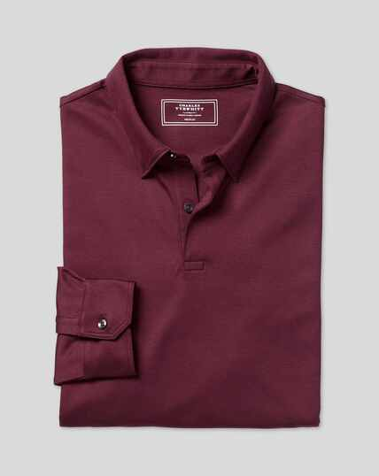 Smartes langärmeliges Jersey-Polo - Weinrot