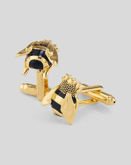 Enamel Bee Cufflinks - Gold