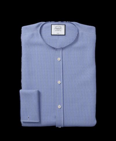 Classic Collar Non-Iron Puppytooth Shirt  - Royal Blue