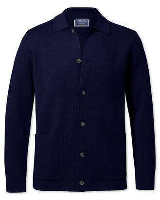 Veste bleu marine en laine mérinos