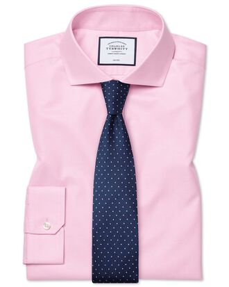 Super slim fit spread collar non-iron twill pink shirt