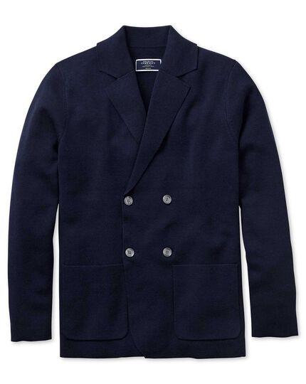 Navy merino wool double breasted blazer