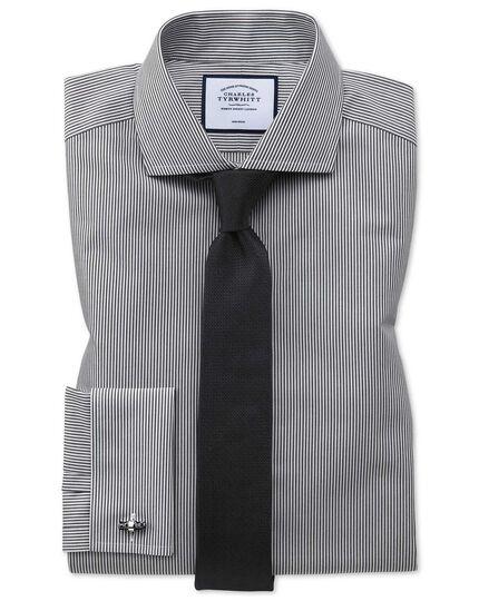 Chemise noire à rayures Bengale et col cutaway extra slim fit sans repassage