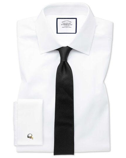 Schmale klassische Krawatte aus Seide mit Strukturgewebe in Faux-Uni Schwarz