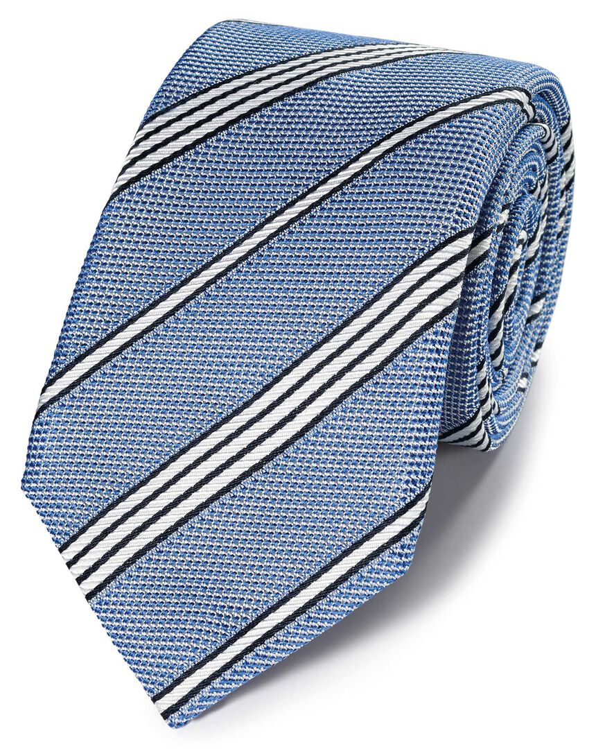 Blue silk grenadine stripe italian luxury tie