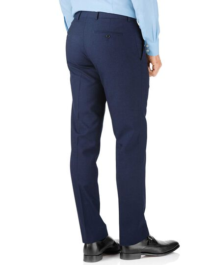 Indigo blue puppytooth slim fit Panama business suit pants