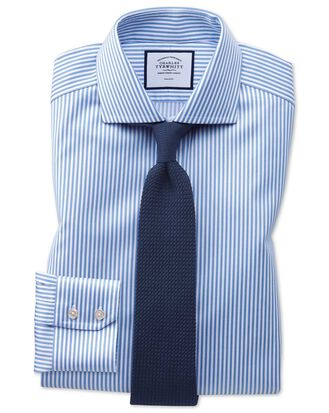 Extra slim fit non-iron spread collar sky blue twill stripe shirt