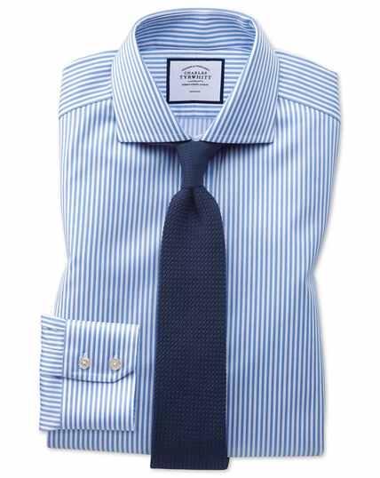 Chemise bleu ciel en twill à rayures et col cutaway extra slim fit sans repassage