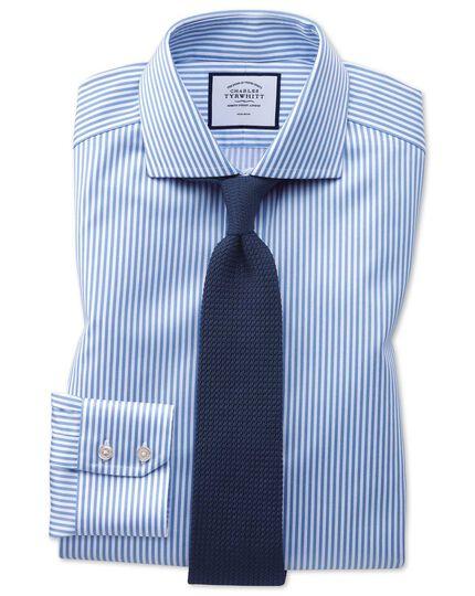 Extra slim fit non-iron spread collar sky blue twill stripe shirt