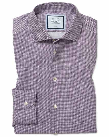 Slim fit non-iron spot print purple shirt
