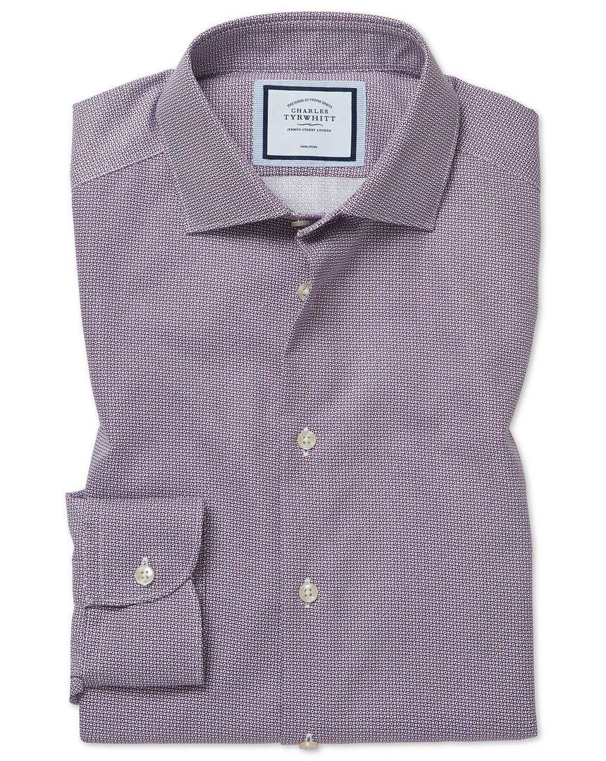 Slim fit non-iron spot print purple shirt