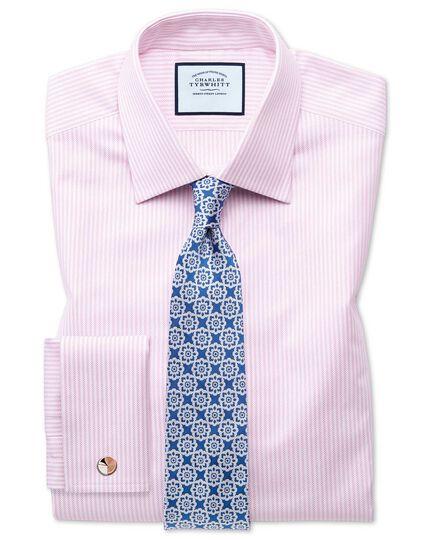 Chemise rose et blanche en oxford royal de coton égyptien coupe droite à rayures