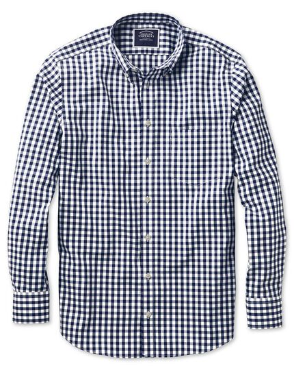 Bügelfreies Classic Fit Hemd aus Popeline in Marineblau mit Gingham-Karos