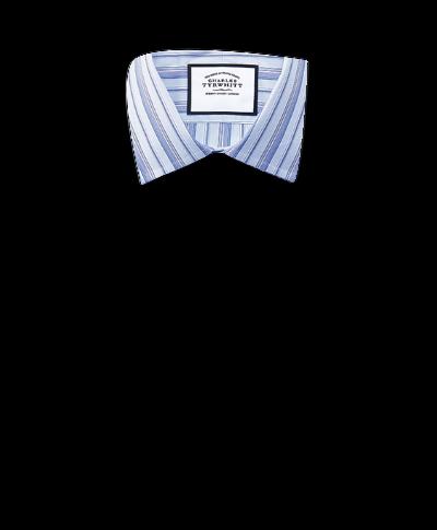Slim Fit Hemd aus ägyptischer Baumwolle mit buntem Streifenmuster in Himmelblau