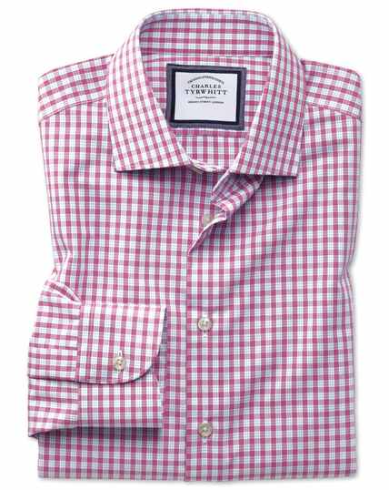 Classic fit semi-spread collar non-iron business casual pink check shirt