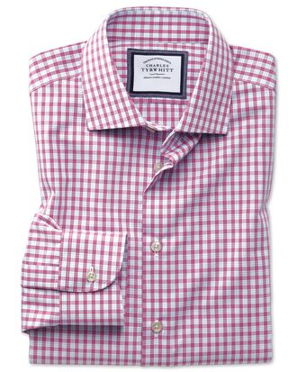 Slim fit semi-cutaway non-iron business casual pink check shirt