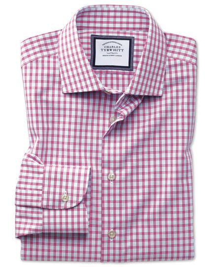 Chemise business casual rose slim fit à carreaux et col semi-cutaway sans repassage