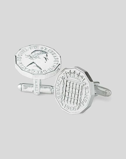 Threepence Coin Cufflink - Silver