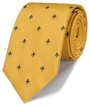 Schmutzabweisende klassische Krawatte mit heraldischen Lilien in Gold & Marineblau