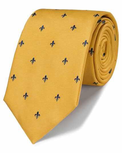 Cravate classique or et bleu marine en tissu anti-taches à fleurs de lys