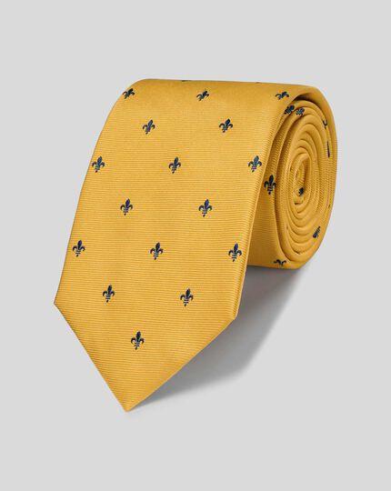 Gold and navy stain resistant Fleur-de-Lys classic tie