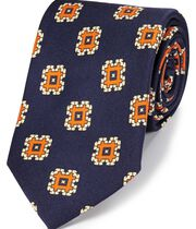 Cravate bleu marine et orange en luxueuse soie anglaise avec imprimé médaillon