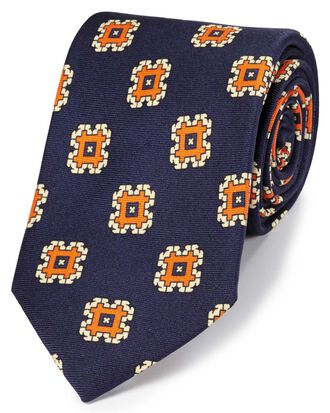 Navy and orange silk medallion print English luxury tie