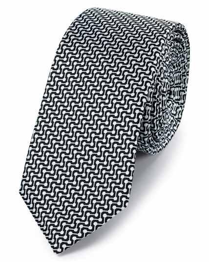 Black and white silk slim geometric classic tie