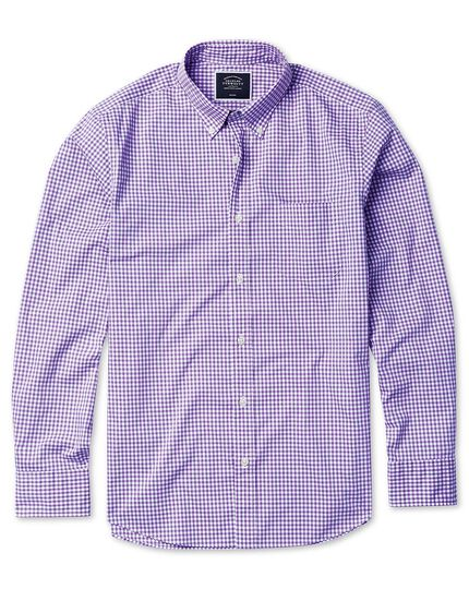 Classic fit soft washed non-iron stretch poplin gingham lilac shirt