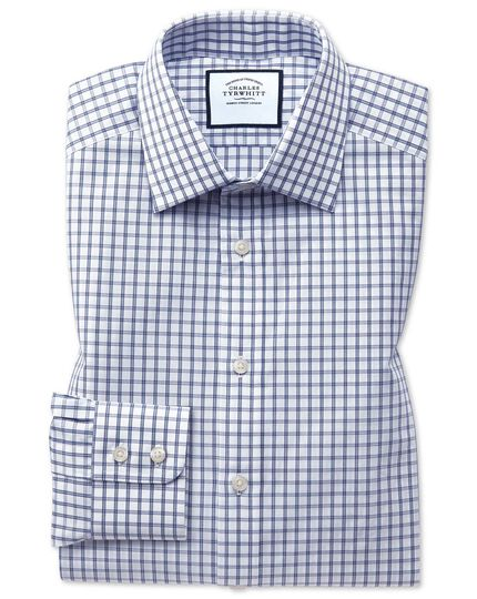 Classic fit blue windowpane check shirt