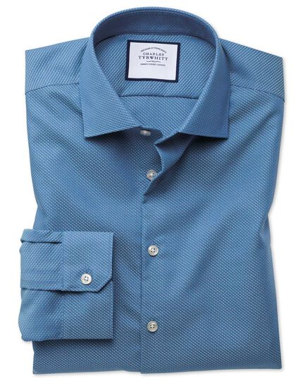 Super slim fit business casual non-iron blue and teal dash dobby shirt
