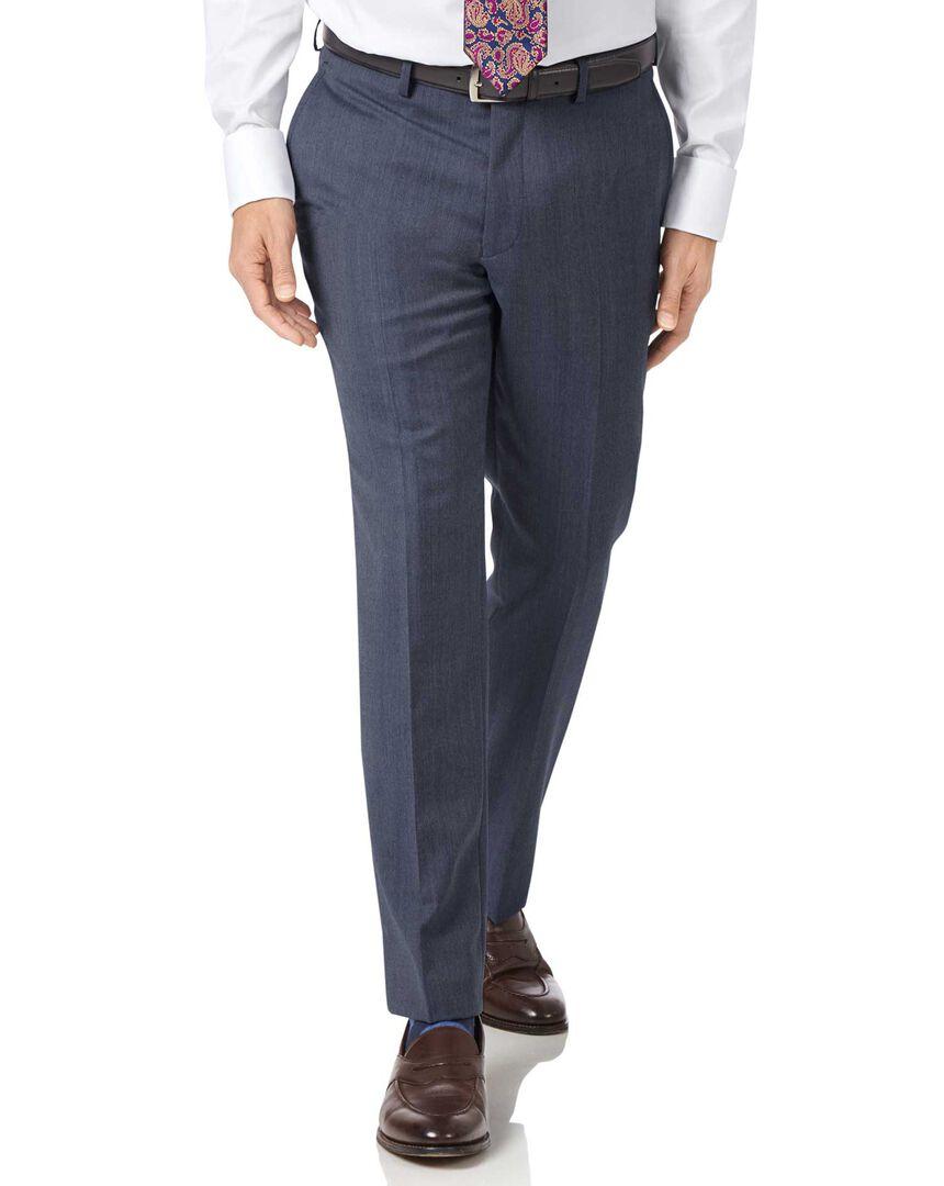 Light blue slim fit twill business suit pants