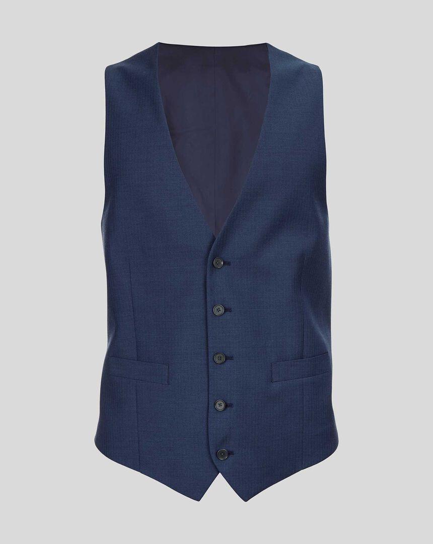 Herringbone Suit Waistcoat - Royal Blue