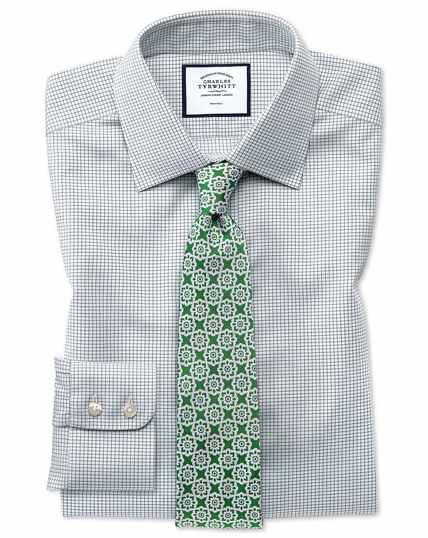 Extra slim fit non-iron twill mini grid check grey shirt