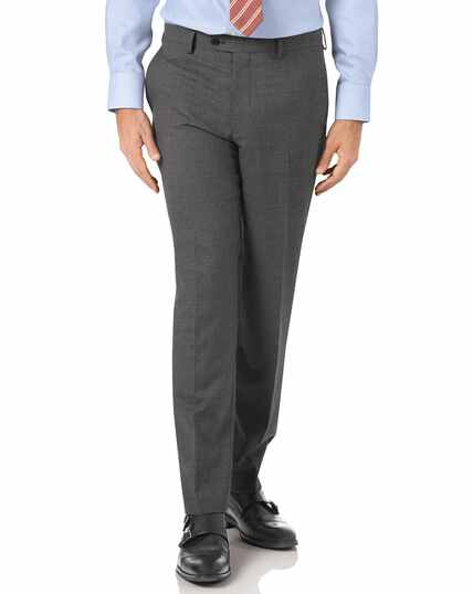 Charcoal slim fit Panama puppytooth business suit trousers
