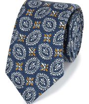 Navy motif print luxury Italian cotton linen tie